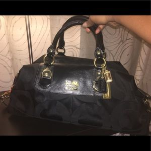 Extra large black monogram Coach satchel